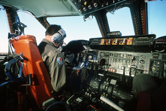 MAJ Robert Tittenhofer, 63rd Military Airlift Wing, pilots his C-141B Starlifter aircraft on an 18-hour non-stop flight from Norton Air Force Base, California, to Christchurch, New Zealand