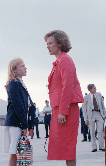 Rosalyn Carter, first lady, and daughter Amy return from a European visit