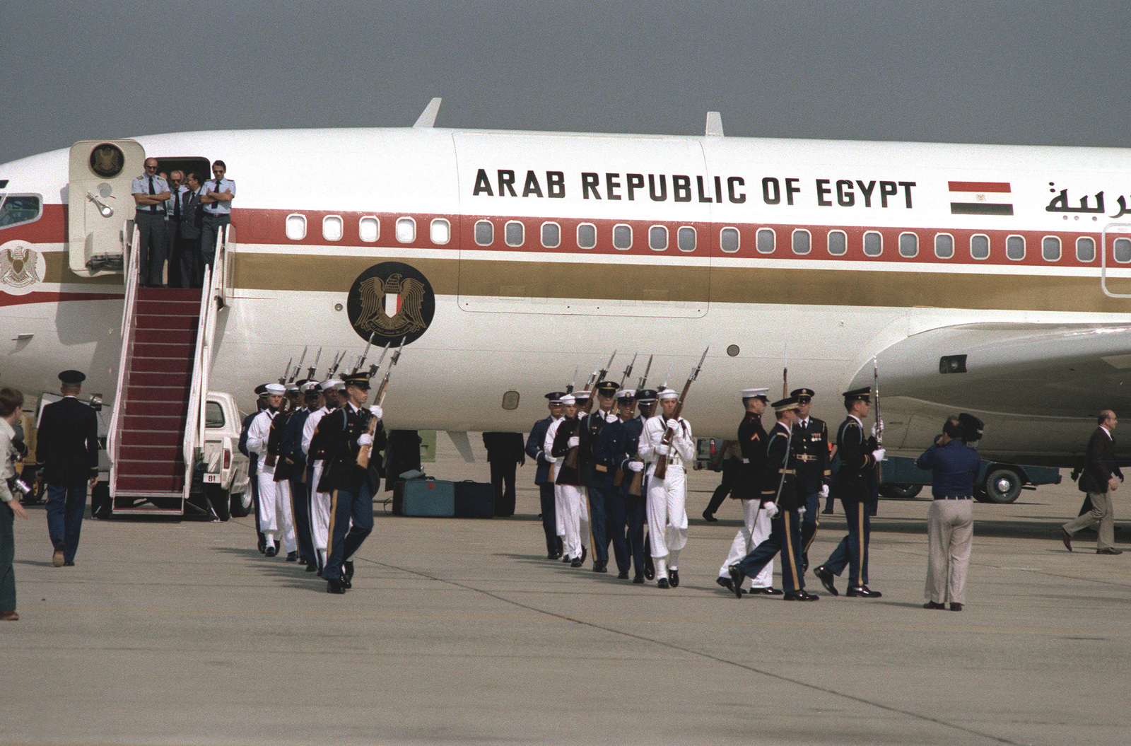 The honor guard moves into position prior to departure ceremonies for Egyptian Vice President Hosni Mubarak after his visit to the United States