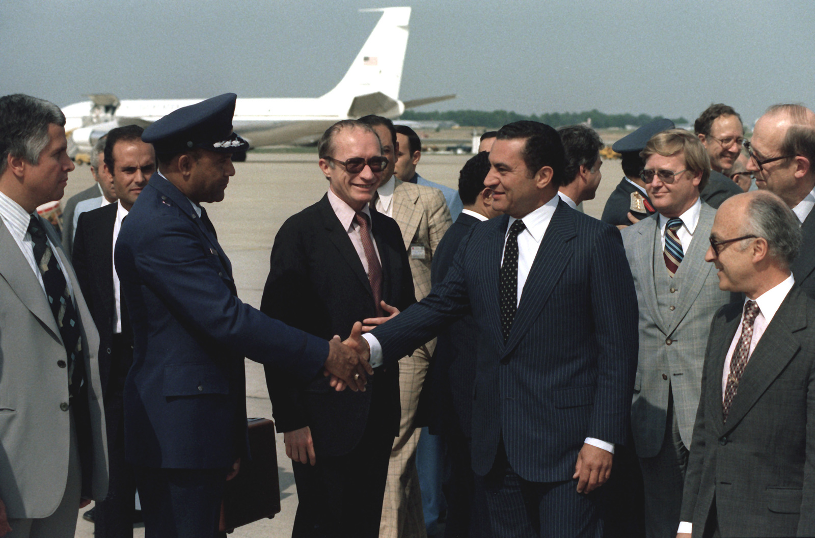 vice president hosni mubarak of egypt is greeted upon his arrival in