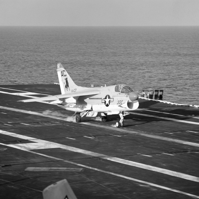 A right front view of a Medium Attack Squadron 37 (VA-37) A-7E Corsair II aircraft landing on the flight deck of the aircraft carrier USS SARATOGA (CV 60) during training exercises off the coast of Florida