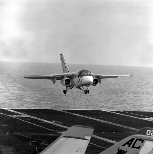 Right front view of an S-3A Viking aircraft from Air Anti-submarine Squadron 22 (VS-22) assigned to Carrier Air Wing 3 (CVW-3) landing aboard the aircraft carrier USS SARATOGA (CV-60) underway off the coast of Florida