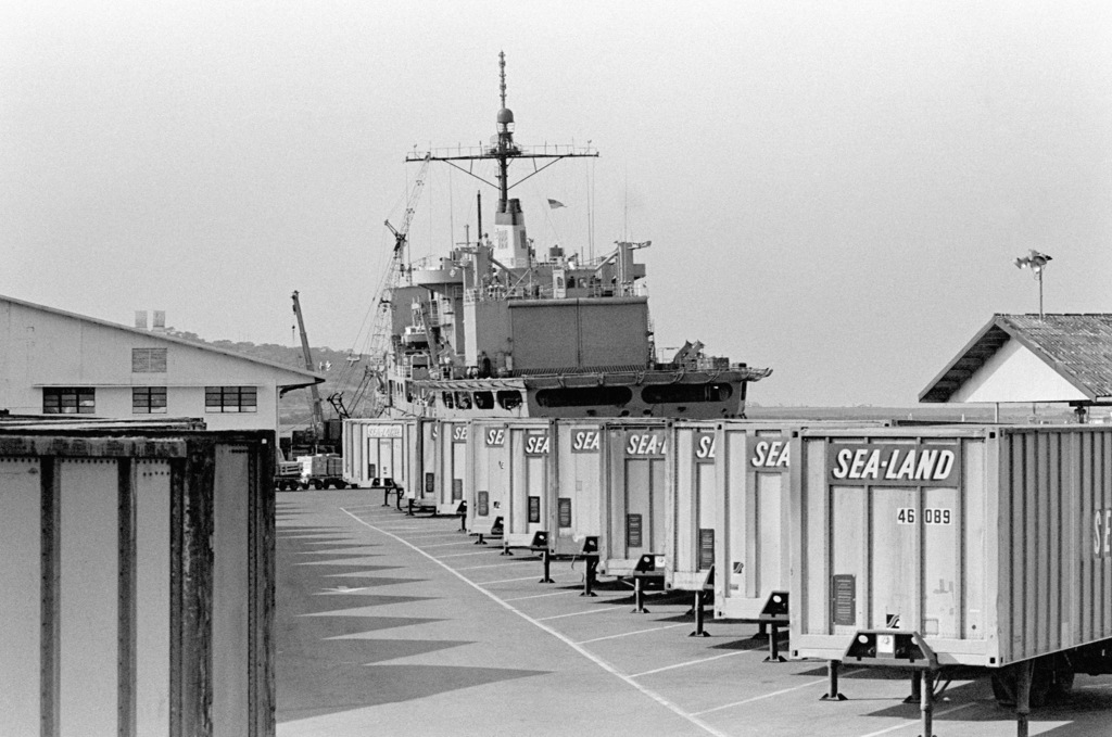 Preparations are made to load supplies aboard the combat stores ship USS SAN JOSE (AFS 7)
