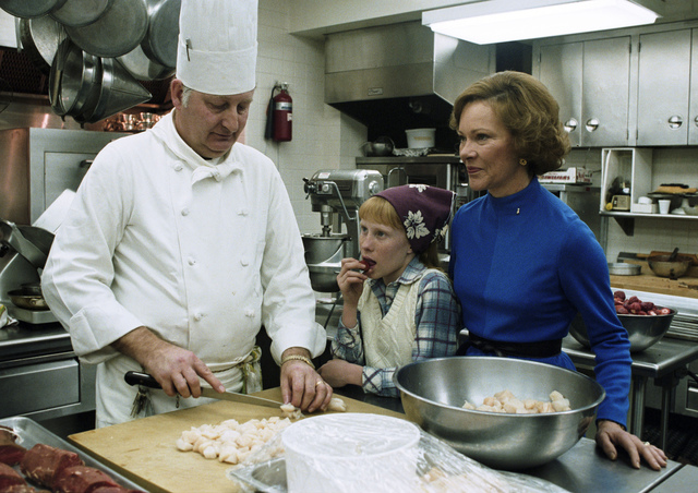 Rosalynn Carter and Amy Carter in the White House Kitchen with the Chef