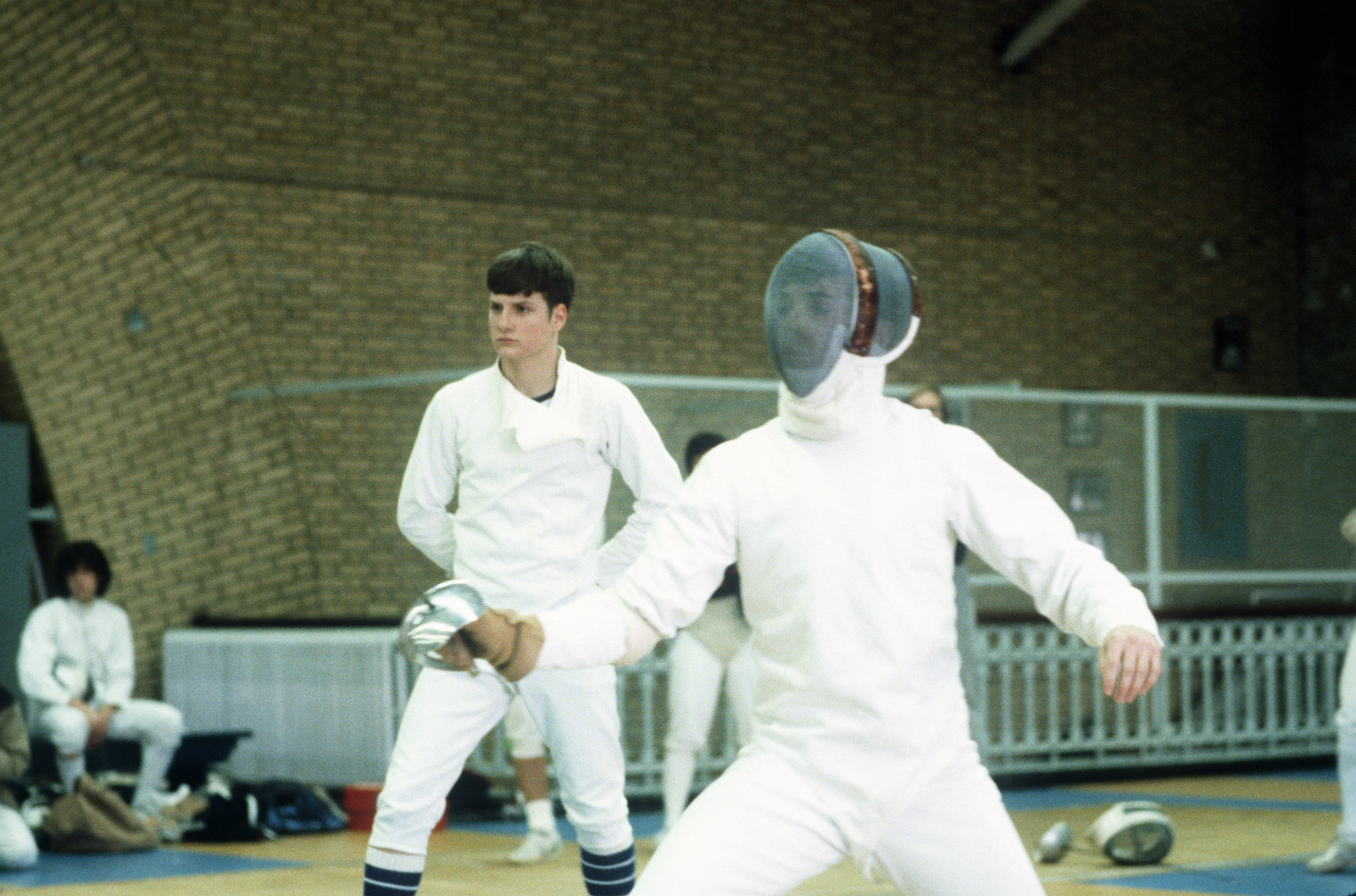 US Naval Academy midshipmen practice fencing techniques in