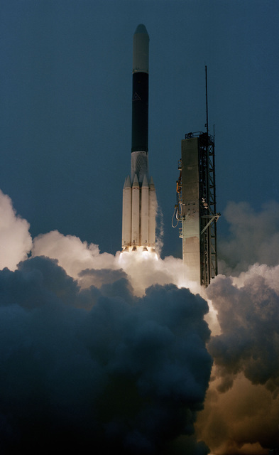 A Solar Maximum Mission spacecraft is launched aboard a Delta 151 launch vehicle from Complex 17A