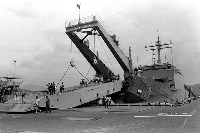 The tank landing ship, USS SAN BERNARDINO (LST-1189) prepares to unload the tanks it is carrying. The equipment will be used for training maneuvers in the Indian Ocean by the 31st Marine Amphibious Unit
