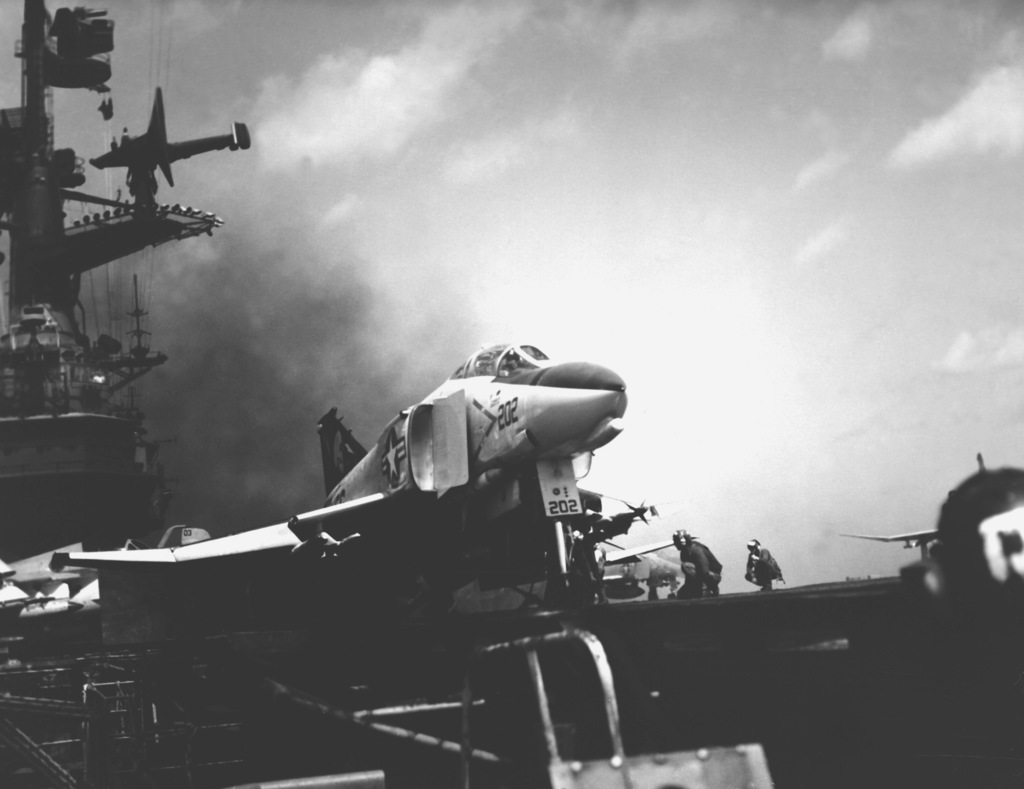 A Marine Strike Fighter Squadron 531 (VMFA-531) F-4N Phanton II aircraft is launched from the flight deck of the aircraft carrier USS CORAL SEA (CV-43). The aircraft is armed with AIM-9 Sidewinder and AIM-7 Sparrow missiles