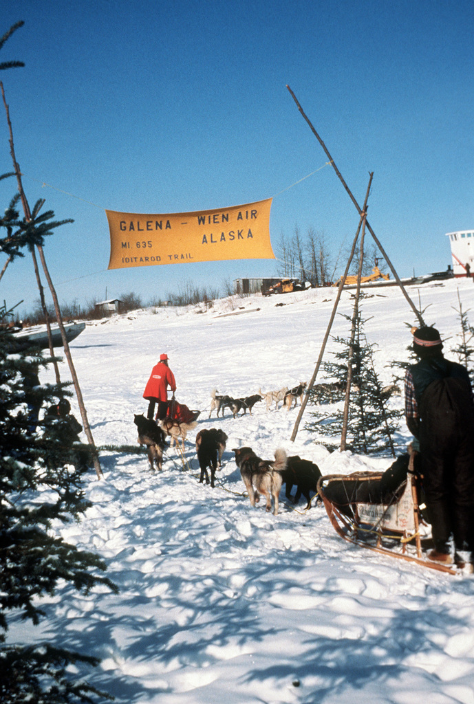 MAJ (Dr.) Terry Adkins (in red coat), Warren Air Force Base veterinarian, is one of the entrants in the 1049 mile Iditarod Sled Dog Race, from Anchorage to Nome. Adkins and another entrant enter the city for a rest period
