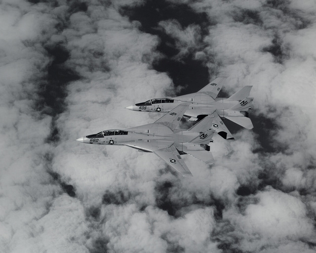 An air-to-air left side view of two F-14 Tomcat aircraft