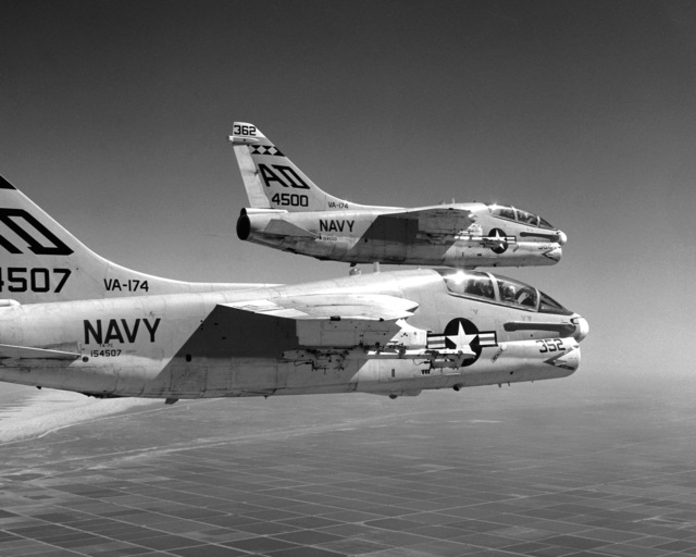 An air-to-air right side view of two Attack Squadron 174 (VA-174) TA-7C Corsair II aircraft during a training mission from Naval Air Facility, El Centro, California