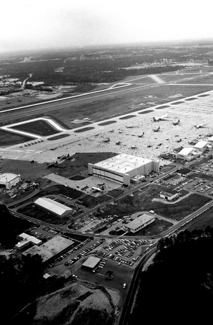 An aerial view of the flight line and other facilities during the open house and air show
