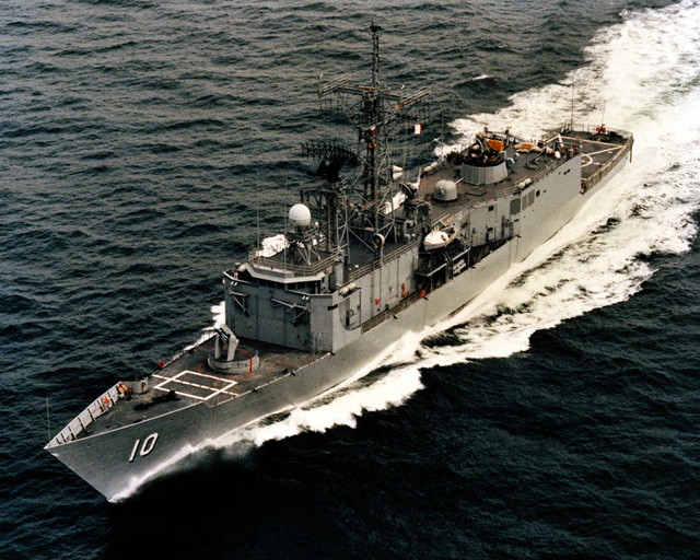 An aerial port bow view of the guided missile frigate DUNCAN (FFG 10) as Todd Pacific Shipyards Corporation conducts sea trails