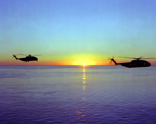 A right side view of two RH-53 Sea Stallion helicopters in flight. The helicopters, based aboard the nuclear-powered aircraft carrier USS NIMITZ (CVN-68), are taking part in Operation Evening Light, a rescue mission to Iran