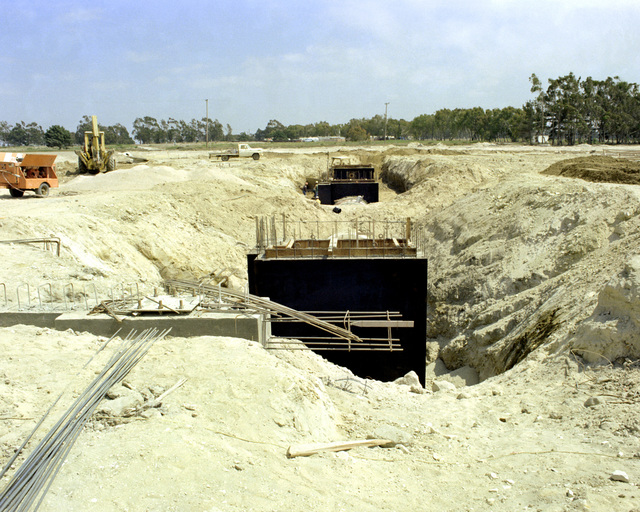A view, looking southeast, of the orbiter maintenance checkout facility cable tunnel, part of Space Launch Complex 6 (SLC-6), under construction