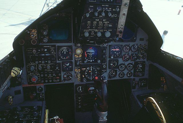A close-up view of an F-15 Eagle aircraft instrument panel