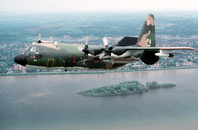 A left front view of an EC-130 Hercules aircraft of the 193rd Tactical Electronic Warfare Group, Pennsylvania Air National Guard, in-flight