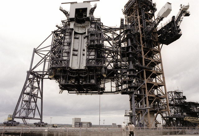 A view of the launch pad for the space shuttle Columbia at the Kennedy Space Center