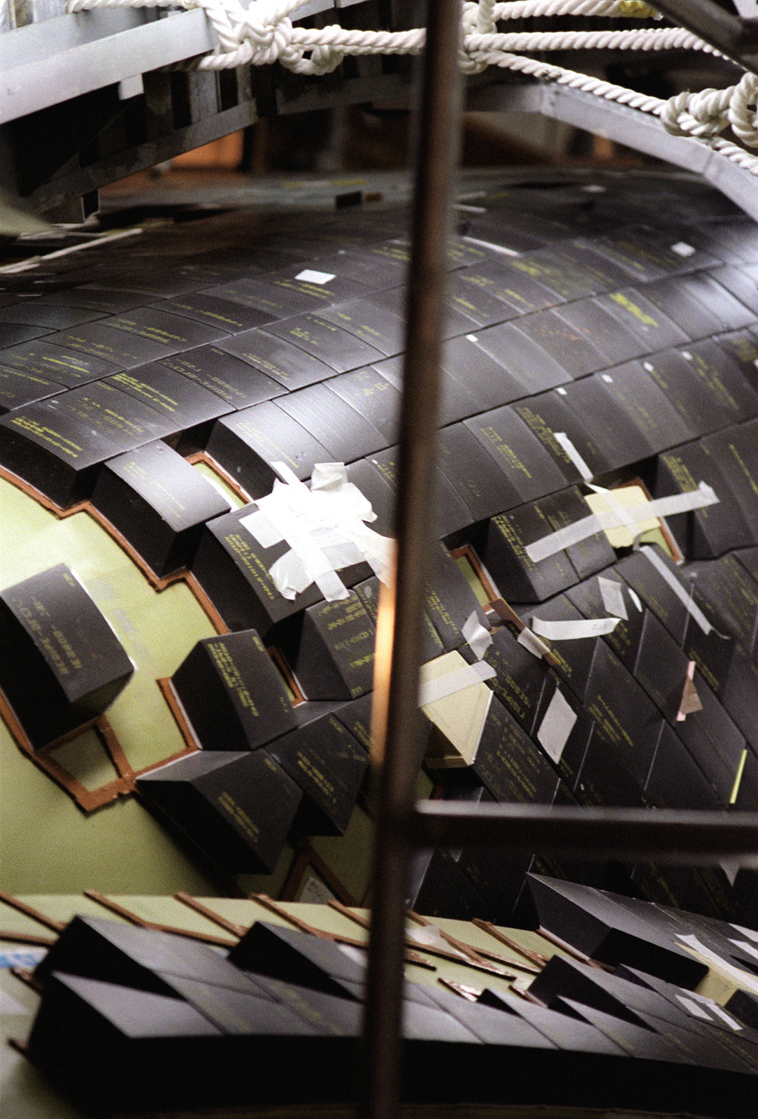 A view of tiles on the space shuttle Columbia at the Kennedy Space Center
