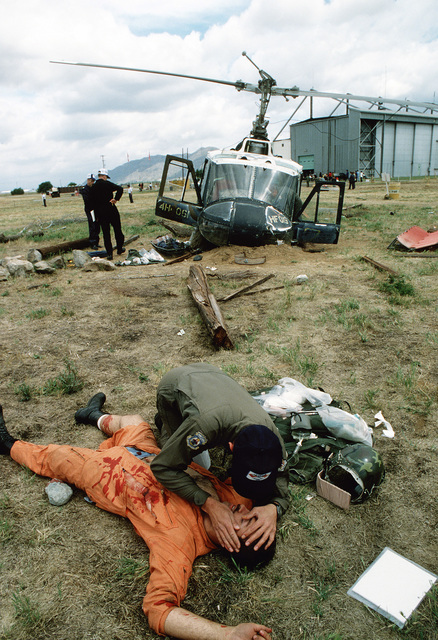 """SRA Brandt becomes a """"victim"""" during Sarex '80, a joint U.S.-Canadian pararescue exercise"""