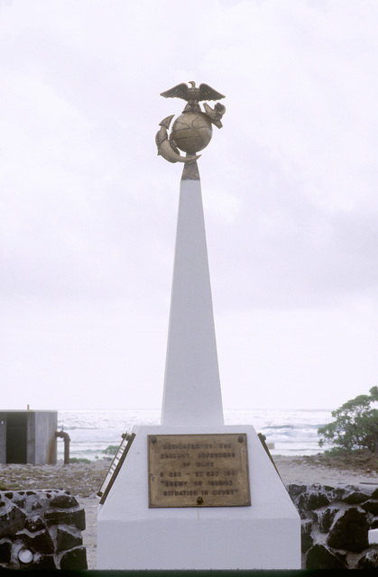 The Marine Memorial dedicated to U.S. Marines who served on the island during World War II