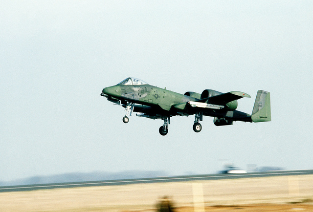 An A-10 Thunderbolt II aircraft lands at the base
