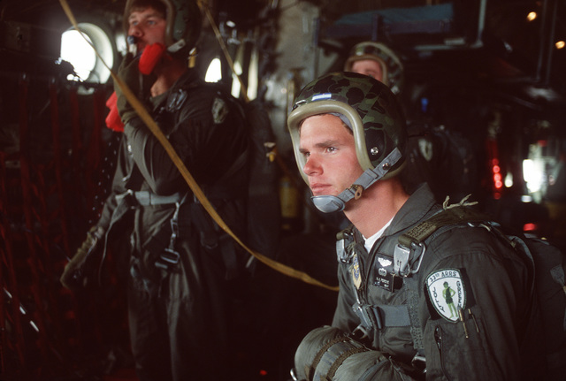 A1C Perdue, assigned to the 33rd Aerospace Rescue and Recovery Squadron, prepares himself mentally for a competition jump during SAREX '80