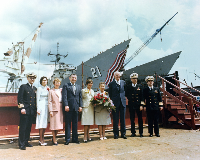 Participants in the launching of the guided missile frigate USS FLATLEY (FFG 21) are, left to right: Captain (CAPT) C. L. Mull, S. Mull, G. Sullivan, John F. Sullivan Jr., President Bath Iron Works; N. Flatley, Dorothy Flatley, sponsor; Admiral (ADM) G. Anderson Jr., Rear Admiral (RADM) Robert Carius, Office of the CHIEF of Naval Operations and (RADM) Kleber Masterson Jr., Naval Sea Systems Command