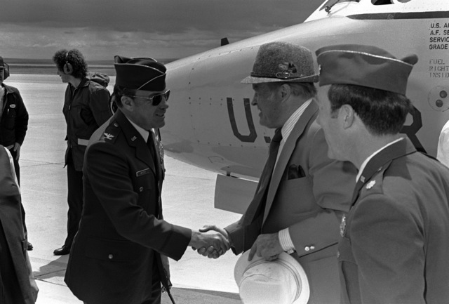 COL Glenn A. Griffith welcomes Bob Hope on arrival for a visit. Griffith is the vice commander of the 46th Aerospace Defense Wing