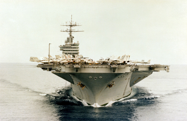 A bow view of the nuclear-powered aircraft carrier USS NIMITZ (CVN-68) underway