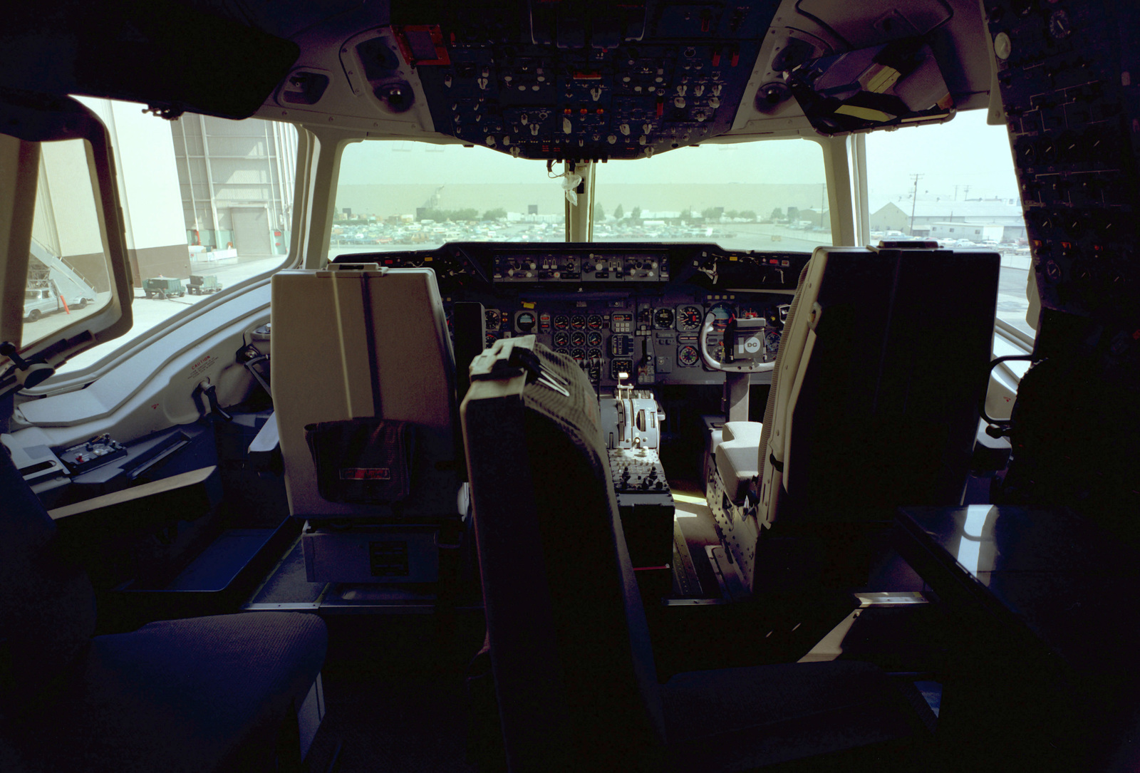 AN interior view of the cockpit of a KC-10A Extender aircraft