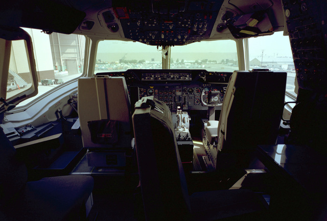 AN interior view of the cockpit of a KC-10A Extender aircraft
