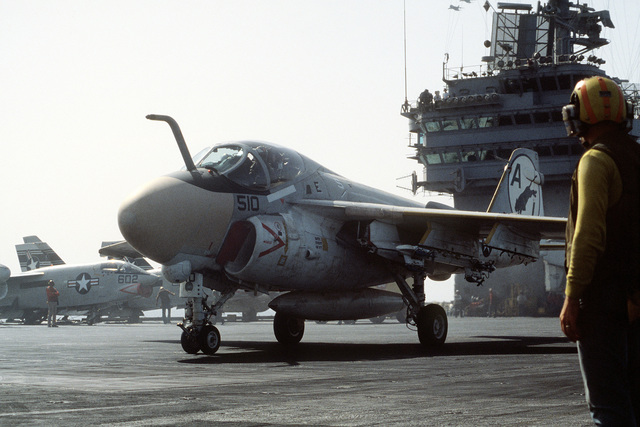 An A-6 Intruder aircraft prepares for launch aboard the nuclear-powered aircraft carrier USS DWIGHT D. EISENHOWER (CVN-69)
