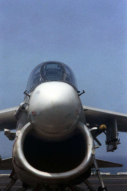 A head-on view of the nose section of an A-7 Corsair II aircraft aboard the nuclear-powered aircraft carrier USS DWIGHT D. EISENHOWER (CVN-69)