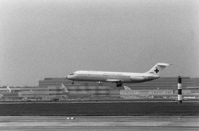 A C-9 Nightingale aircraft of the 55th Aeromedical Airlift Squadron, carrying ex-Iranian hostage Richard Queen, lands at the base. Queen, an American diplomat who was held hostage for 250 days, was transferred here from Zurich, Switzerland, for treatment at the US Air Force Regional Medical Center Weisbaden