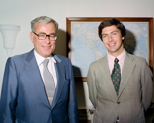 Secretary of Defense Harold S. Brown with Elliot Garson, Special Assistant to Peter Hamilton