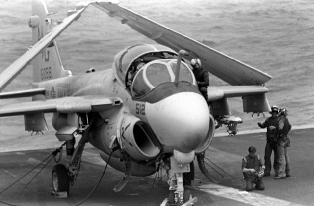 An Attack Squadron 65 (VA-65) A-6E Intruder aircraft is prepared for takeoff during flight operations aboard the nuclear-powered aircraft carrier USS DWIGHT D. EISENHOWER (CVN-69)