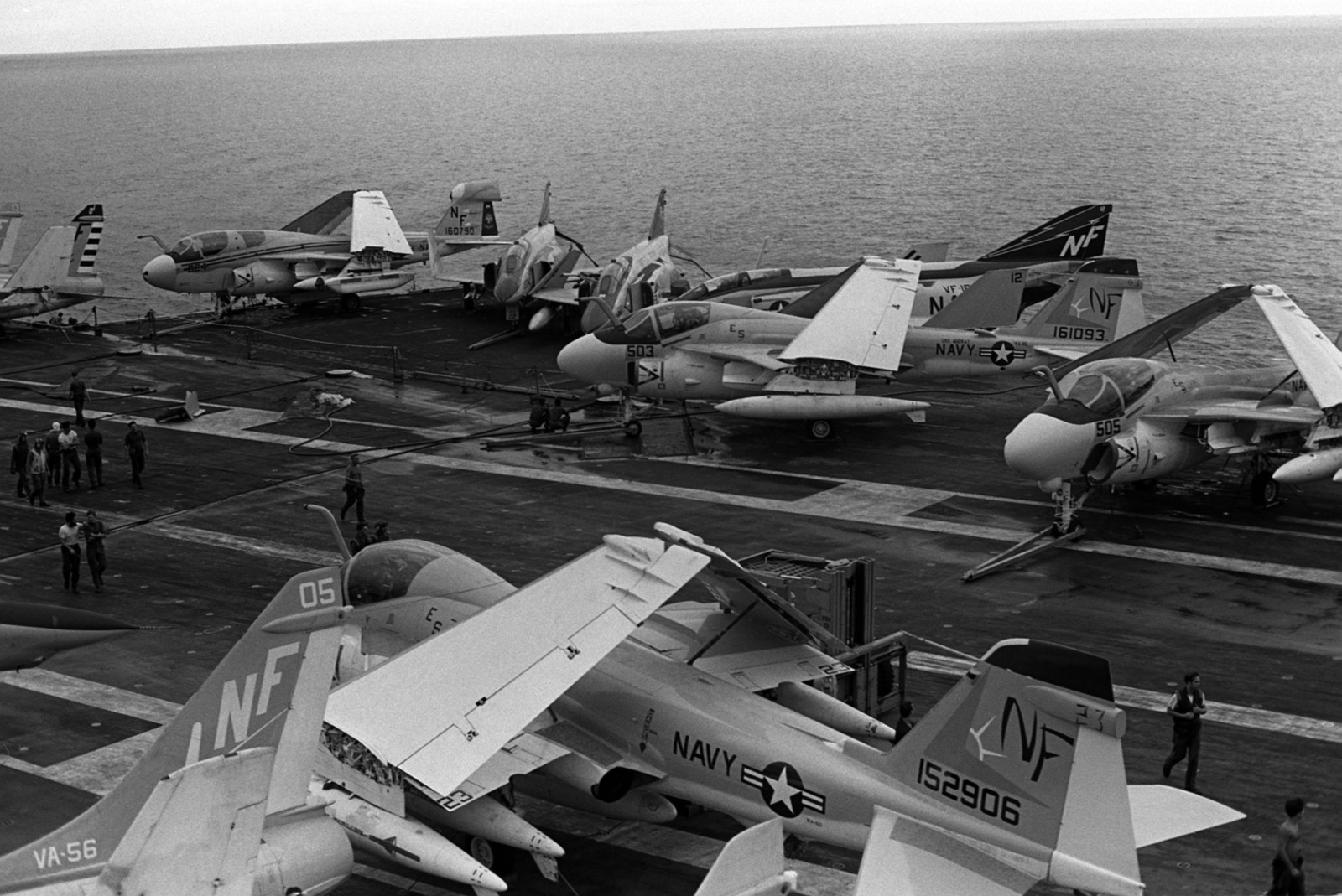 A view of aircraft parked on the flight deck of the aircraft carrier USS MIDWAY (CV 41). These aircraft were left undamaged when the carrier collided with the Panamanian freighter CACTUS