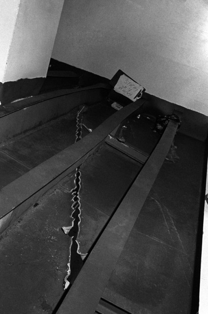 An interior view of damage caused to the aircraft carrier USS MIDWAY (CV41) when it collided with the Panamanian freighter CACTUS