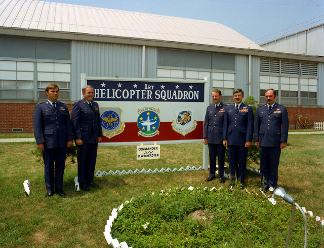 A group of former Army aviators who are now Air Force pilots with the 1ST Helicopter Squadron, Military Airlift Command. From left to right, they are: 2nd Lieutenant (2LT) Archer Lassiter, 2LT Robert Mignard, 2LT John Hiemstra, 2LT William Fitzgerald and 2LT Hank Devoll