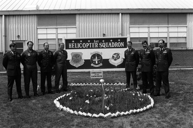 A group of former Army aviators who are now Air Force pilots with the 1ST Helicopter Squadron, Military Airlift Command. From left to right, they are: 2LT Archer Lassiter, 2LT William Hatfield, 2LT Charles Bavland, 2LT Robert Mignard, 2LT John Hienstra, 2LT William Fitzgerald and 2LT Hank Devoll