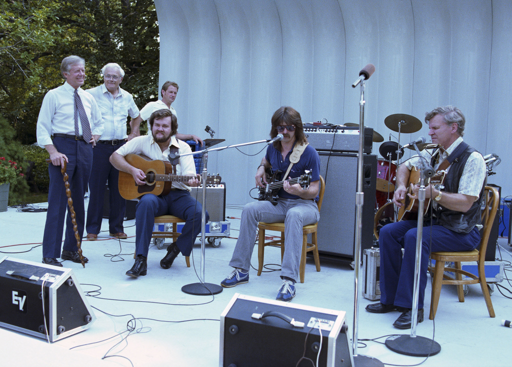 Jimmy Carter with the Blue Grass Band, Bill Monroe and Company, at the Bandshell on the South Lawn