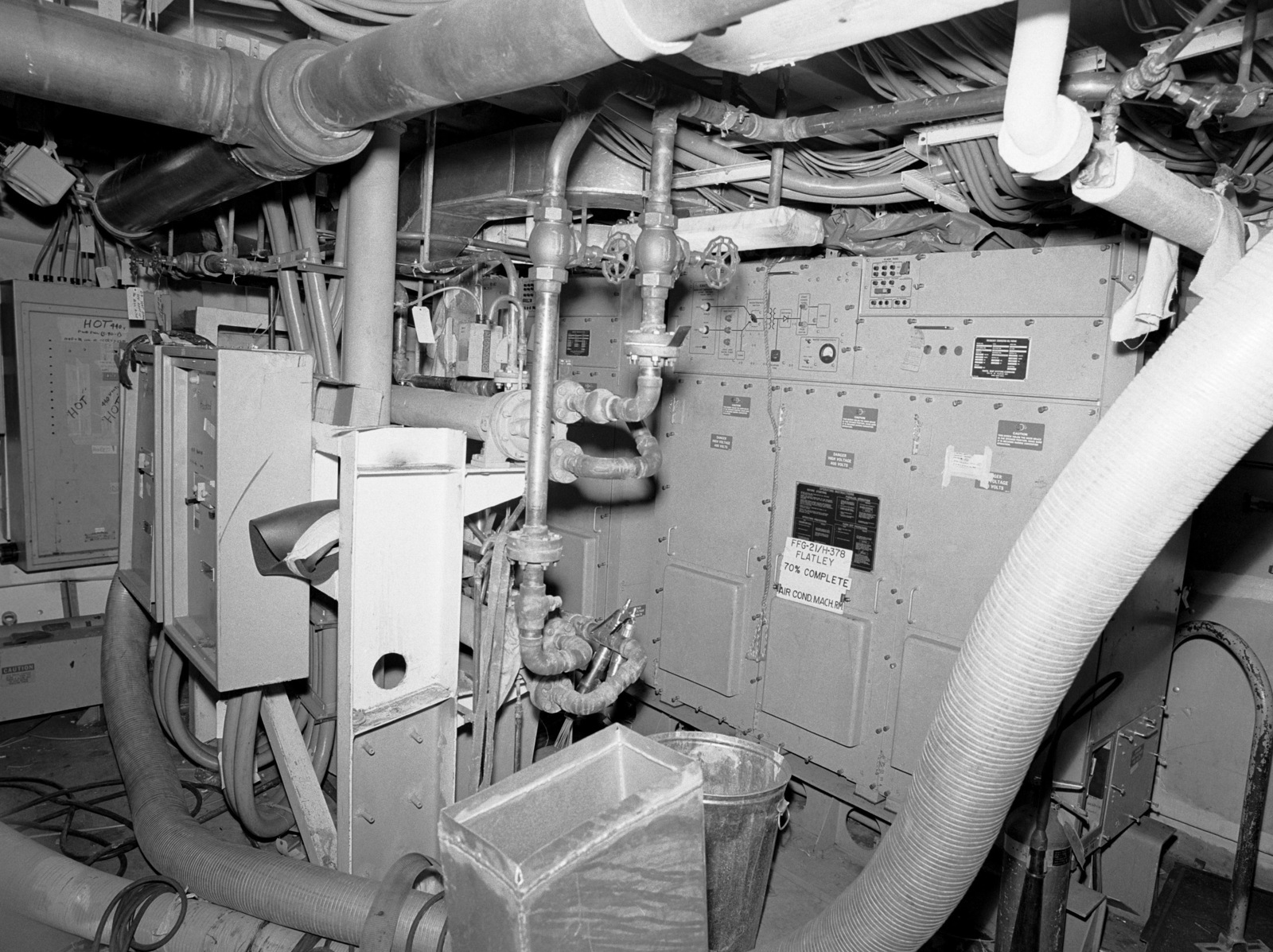 Air conditioning machinery room aboard the Oliver Hazard Perry class guided missile frigate USS FLATLEY (FFG 21) at 70 percent completion