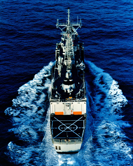 An aerial stern view of the Australian frigate ADELAIDE (F-01) as Todd Pacific Shipyards Corporation conducts sea trials