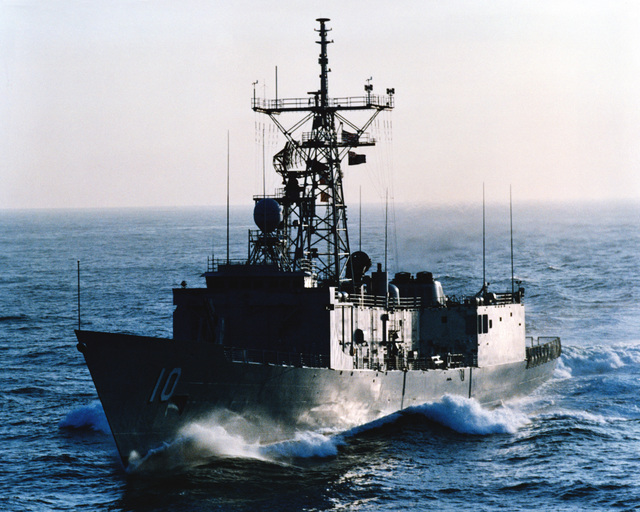 An starboard bow view of the Australian frigate ADELAIDE (F-01) as Todd Pacific Shipyards Corporation conducts sea trials