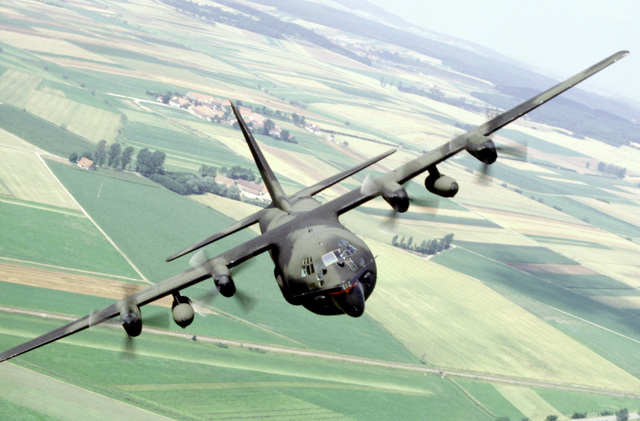 An air-to-air front view of an MC-130E Hercules Combat Talon aircraft of the 7th Special Operations Squadron (SOS) during a Fulton recovery mission. The 7th SOS conducts training for special air operations and related activities. The unit also trains with Army Special Forces and Navy Sea-Air-Land (SEAL) team members for unconventional warfare operations
