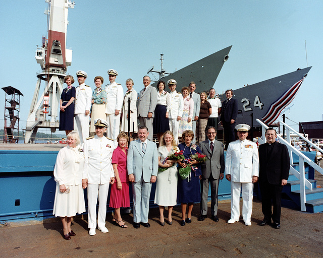 Participants in the launching ceremony for the Oliver Hazard Perry class guided missile frigate USS JACK WILLIAMS (FFG 24) stand for a group picture. For a complete list of participants see master caption