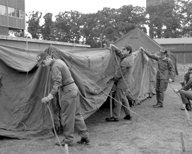 Medical specialists of the 48th Tactical Fighter Wing set up a tent for a mobile hospital during a training exercise