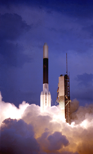 Evening view of DSV-3 Delta 152 missile launch with Geostationary Operational Environmental Satellite aboard
