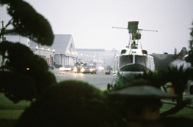 A morning view of the flight line framed by a plant and a close-up UH-1 Iroquois helicopter during exercise Purple Duck, a deployment from Yokota Air Base, Japan, to Kwang Ju Air Base for joint operation readiness maneuvers with Korean troopers